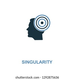Singularity icon in two colors design. Premium style design from artificial intelligence collection. UX and UI. Pixel perfect singularity icon including including logo, branding.