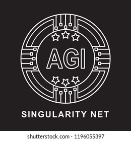 singularity net coin AGI Cryptocurrency  icon blackground