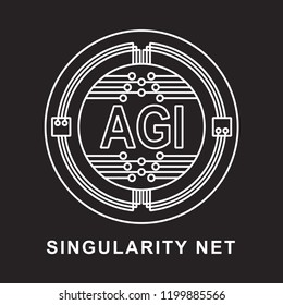 singularity net coin Cryptocurrency  icon with black background
