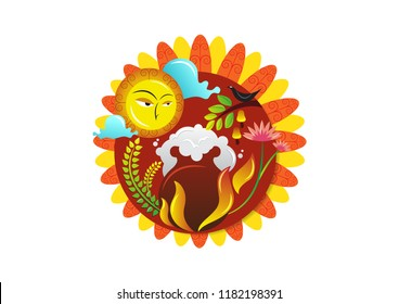 Sinhala and Tamil New Year Celebration Illustration.
