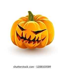 Sinister Halloween pumpkin. Jack-o'-lantern for Halloween isolated on white background