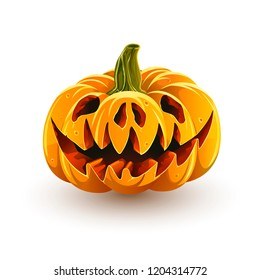 Sinister jack-o'-lantern for Halloween. Halloween pumpkin isolated on white background. Angry pig pumpkin