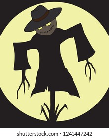A sinister looking scarecrow with glowing eyes is hanging off a post in the dark