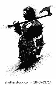 A sinister, muscular Scandinavian warrior with an axe stands proudly in profile with his back straight. 2D illustration