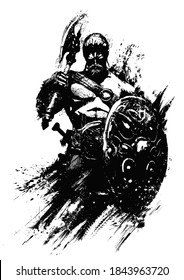 A sinister, muscular Scandinavian warrior with an axe and shield stands proudly with his back straight. 2D illustration