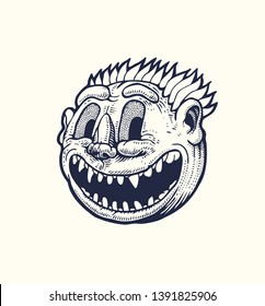Sinister smiling vampire, round emoticon with predatory sharp teeth. Drawing Style. Vector illustration.