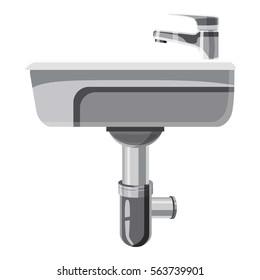 Sink in the bathroom icon. Cartoon illustration of sink in the bathroom vector icon for web design