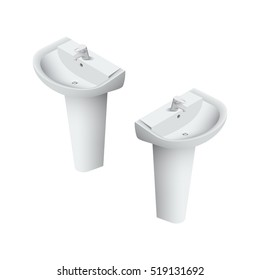 Sink in the bathroom for washing face and hands realistic Isometric Vector Illustration Created For Mobile, Web, Decor, Print Products, Application on white background
