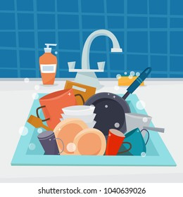 Sink with clean kitchenware and dishes, utencil and sponge. Flat cartoon style vector illustration.