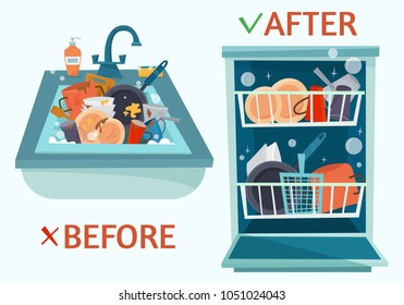 Sink dirty dishes and open dishwasher with clean dishes. Before and after. Flat cartoon style vector illustration.