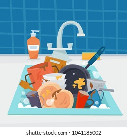 Sink with dirty kitchenware and dishes, utencil and sponge. Flat cartoon style vector illustration.