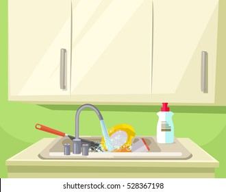 Sink full of dirty dishes. Vector flat cartoon illustration