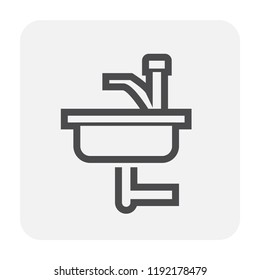 Sink icon design, black and outline.