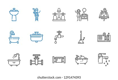 sink icons set. Collection of sink with tap, bathtub, pipe, plunger, faucet, plumber. Editable and scalable sink icons.