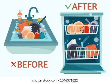Sink and open dishwasher with clean dishes. Flat cartoon style vector illustration.