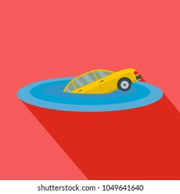 Sinking car icon. Flat illustration of sinking car vector icon for web