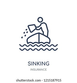 Sinking icon. Sinking linear symbol design from Insurance collection.
