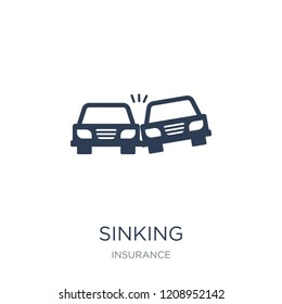Sinking icon. Trendy flat vector Sinking icon on white background from Insurance collection, vector illustration can be use for web and mobile, eps10