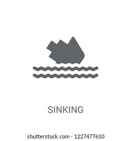 Sinking icon. Trendy Sinking logo concept on white background from Insurance collection. Suitable for use on web apps, mobile apps and print media.
