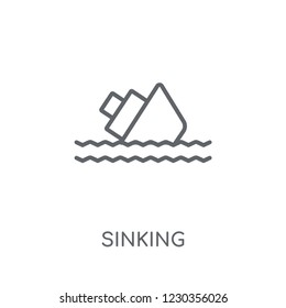 Sinking linear icon. Modern outline Sinking logo concept on white background from Insurance collection. Suitable for use on web apps, mobile apps and print media.
