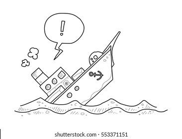 sinking ship doodle