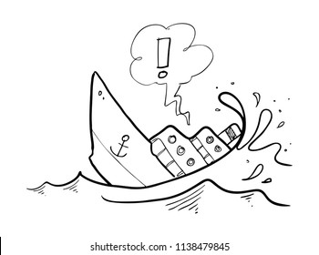 sinking ship drawing