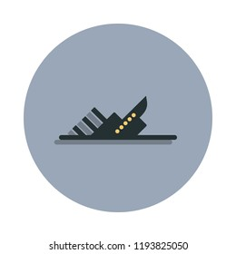 sinking ship icon in badge style. One of web collection icon can be used for UI, UX