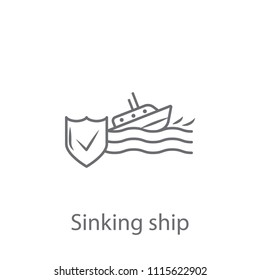 Sinking Ship Insurance  icon. Simple element illustration. Sinking Ship Insurance  symbol design from Insurance collection set. Can be used for web and mobile on white background