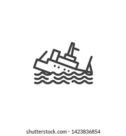 Sinking Ship Insurance line icon. linear style sign for mobile concept and web design. Sinking boat outline vector icon. Symbol, logo illustration. Vector graphics