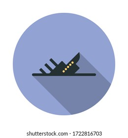 sinking ship long shadow icon. Simple color vector of web icons for ui and ux, website or mobile application