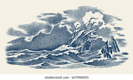 Sinking ship at sea. Ocean storm, strong waves. Vintage engraved monochrome sketch. Historic seascape. Vector illustration for banner or poster. Boat trip or vessel voyage.