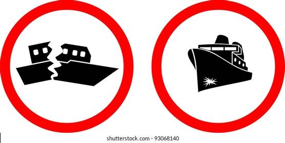Sinking ship. Vector
