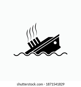 Sinking Ships Icon. Accident, Sea Transportation Tragedy Symbol - Vector, Sign for Design, Presentation, Website or Apps Elements.
