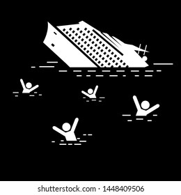Sinking Steamboat in Ocean Water. Night Scene. Stick Figure Vector Illustration