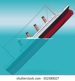 Sinking Titanic legendary colossal boat monumental big ship symbol icon flatten isolated illustration master vector