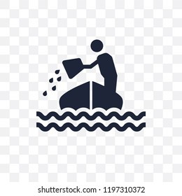 Sinking transparent icon. Sinking symbol design from Insurance collection.