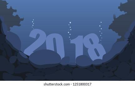 sinking year 2018 underwater between sea rocks EPS 10 Vector