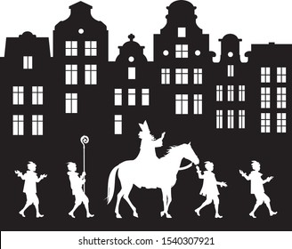 Sinterklaas Parade procession in the Old City, Dutch Santa Claus Heilige Nikolaus on his horse and his helpers Black Petes, Saint Nicholas Arrival Festival in Netherlands, Belgium, Germany, Luxembourg