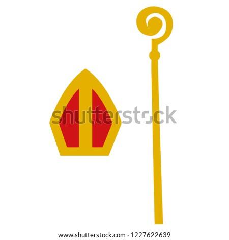 559cd961a000e Sinterklaas Staff Hat Stock Vector (Royalty Free) 1227622639 ...