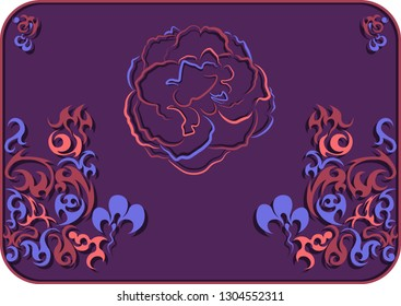 sinuous colored pattern for an unusual background with a rose
