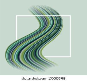 Sinuous multicolor green paint brushstroke through a rectangular frame, abstract banner background