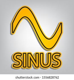Sinus graph line icon. Flat orange icon with overlapping linear black icon with gray shadow at whitish background. Illustration.
