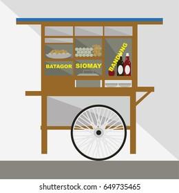 siomay and batagor vendor vector illustration