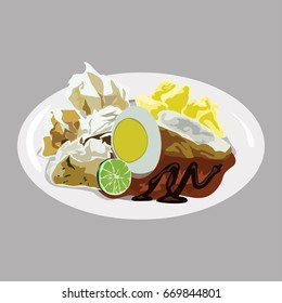 Siomay, Indonesian steamed fish dumpling with vegetables served in peanut sauce. Vector Illustration