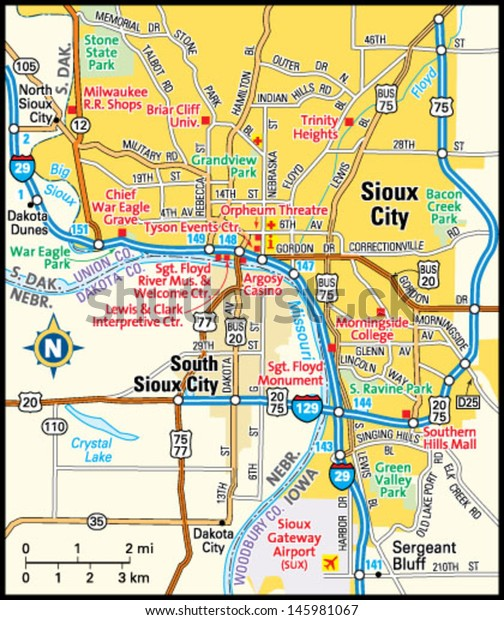 Sioux City Iowa Area Map Stock Vector (Royalty Free) 145981067