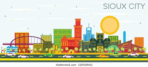 Sioux City Iowa Skyline with Color Buildings and Blue Sky. Vector Illustration. Business Travel and Tourism Illustration with Historic Architecture.