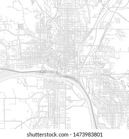 Sioux City, Iowa, USA, bright outlined vector map with bigger and minor roads and steets created for infographic backgrounds.