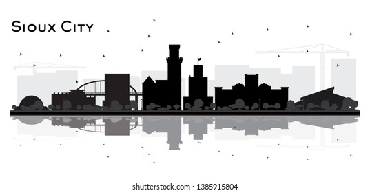 Sioux City skyline black and white silhouette with Reflections. Vector illustration.