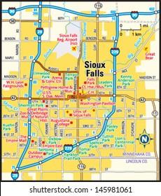 Sioux Falls, South Dakota area map