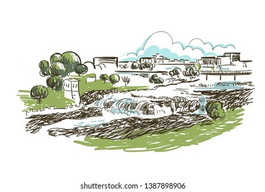 Sioux Falls South Dakota usa America vector sketch city illustration line art